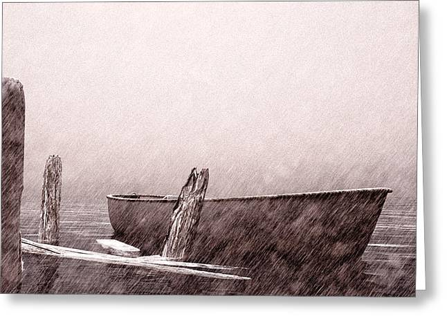New England Ocean Drawings Greeting Cards - Gentle Current Greeting Card by Bob Orsillo