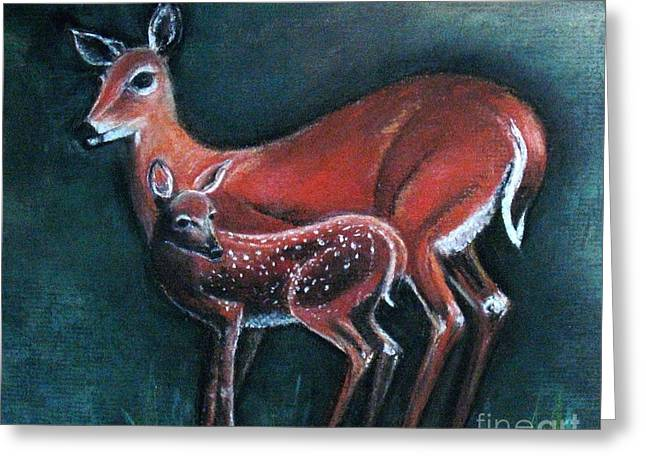 Nature Scene Pastels Greeting Cards - Gentle Deer Greeting Card by Hazel Holland