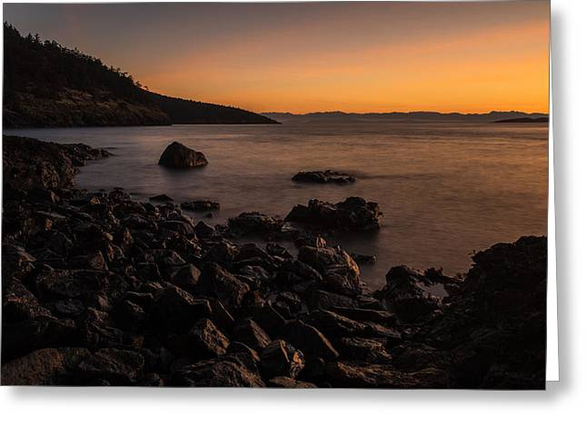 Beachscape Greeting Cards - Gentle Evening San Juans Sunset Beach Greeting Card by Mike Reid