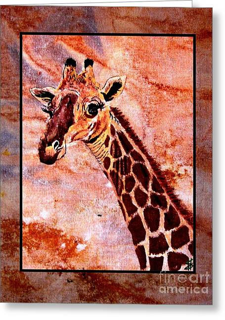 National Tapestries - Textiles Greeting Cards - Gentle Giraffe Greeting Card by Sylvie Heasman