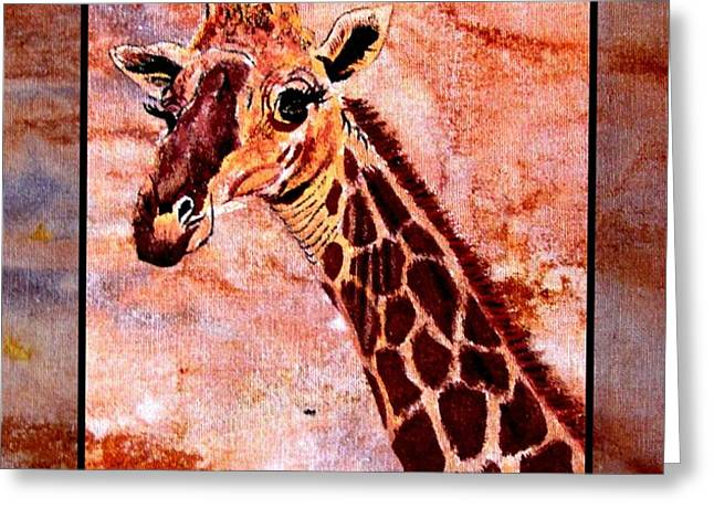Gentle Giraffe Greeting Card by Sylvie Heasman