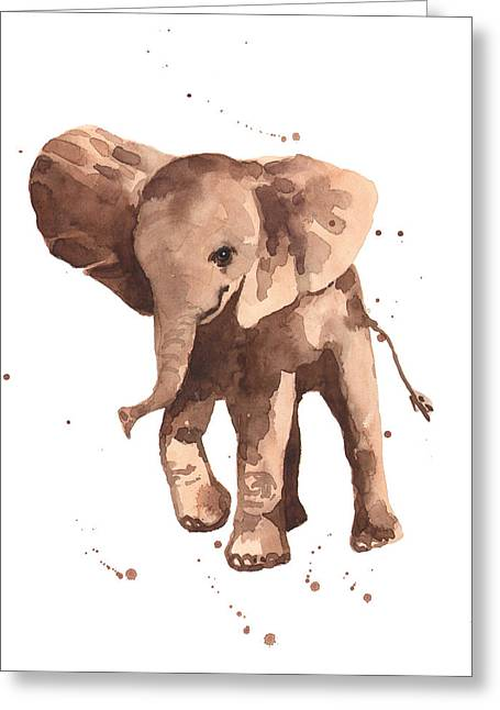 Watercolour Paintings Greeting Cards - Gentle Graham Elephant Greeting Card by Alison Fennell