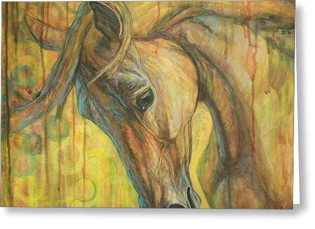 Horses Paintings Greeting Cards - Gentle Soul Greeting Card by Silvana Gabudean