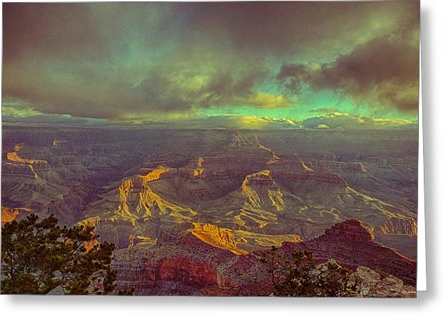 Greeting Cards - Gentle Sunrise Over The Canyon Greeting Card by Lisa  Spencer