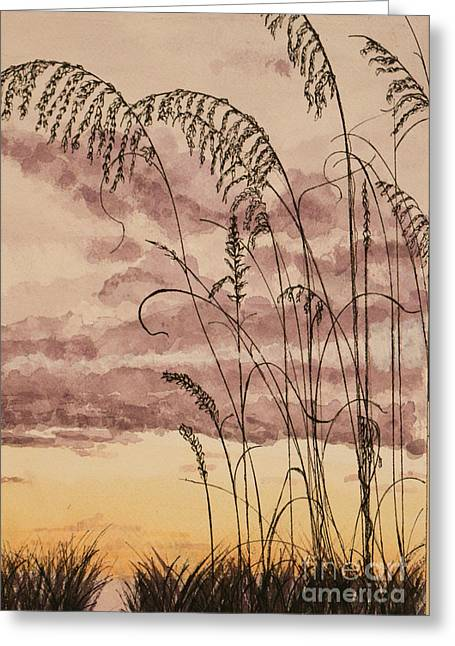 Sea Oats Mixed Media Greeting Cards - Gentle Sway Sea Oats Greeting Card by DJ Laughlin