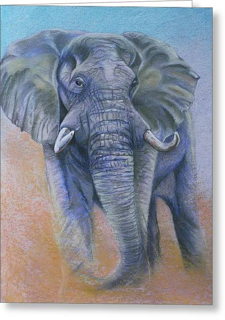 Elephant Pastels Greeting Cards - Gentle Warning Greeting Card by Linda Harrison-parsons