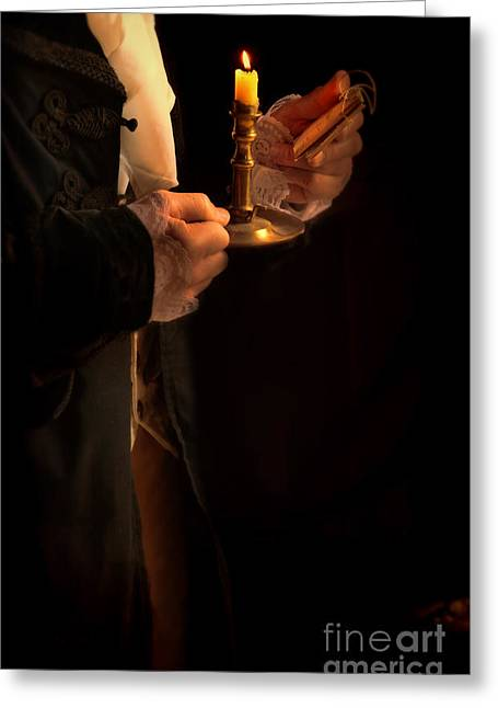 Love Letter Greeting Cards - Gentleman in 18th Century Clothing with a Candle Greeting Card by Jill Battaglia