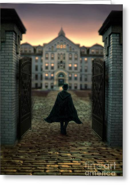 Moonlit Night Greeting Cards - Gentleman in Top Hat and Cape Walking Through Gates Greeting Card by Jill Battaglia