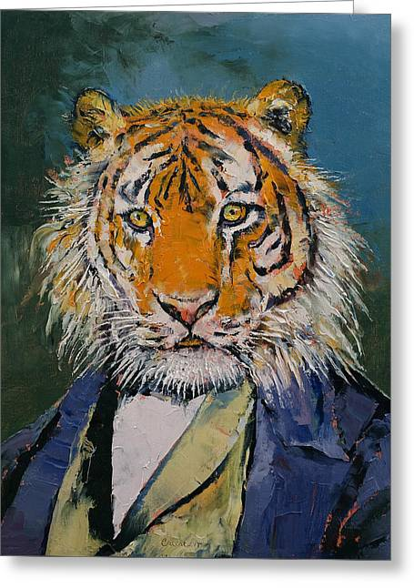 Tuxedo Greeting Cards - Gentleman Tiger Greeting Card by Michael Creese