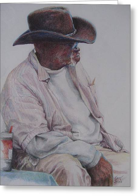 Senior Citizen Drawings Greeting Cards - Gentleman Wearing the Dark Hat Greeting Card by Sharon Sorrels