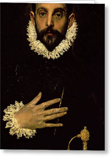 Sword Greeting Cards - Gentleman with his hand on his chest Greeting Card by El Greco Domenico Theotocopuli