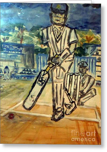 White Flannels Greeting Cards - Gentlemans Game-cricket Greeting Card by Ayyappa Das