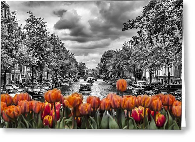 Amsterdam Greeting Cards - Gentlemens Canal  Amsterdam Greeting Card by Melanie Viola