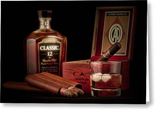 Liquor Greeting Cards - Gentlemens Club Still Life Greeting Card by Tom Mc Nemar