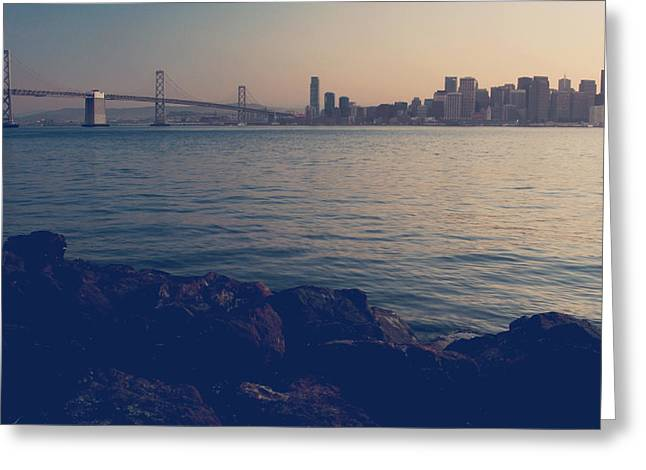 San Francisco Bay Bridge Greeting Cards - Gently the Evening Comes Greeting Card by Laurie Search