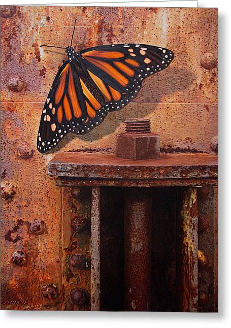 Rivets Paintings Greeting Cards - Gently Touching My Emotions Greeting Card by Stephen Shub