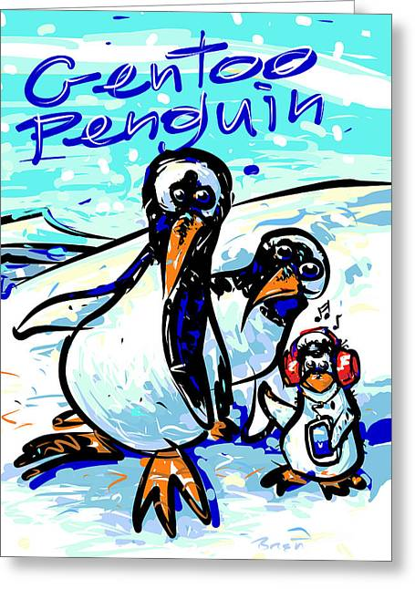 Temperature Drawings Greeting Cards - Gentoo Penguins Greeting Card by Brett LaGue