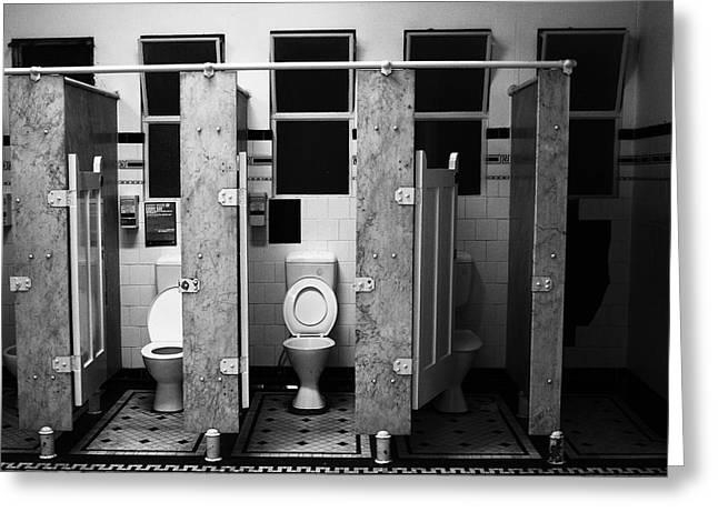 Cubicle Greeting Cards - Gents Toilets Greeting Card by Andrew McInnes