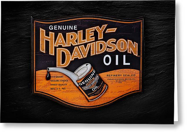 Vintage Sign Greeting Cards - Genuine Harley Davidson Oil Greeting Card by Mark Rogan