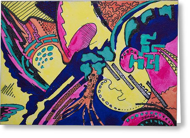 Pen And Ink Framed Prints Greeting Cards - Geo Abstract Drawing Greeting Card by Cory Behara