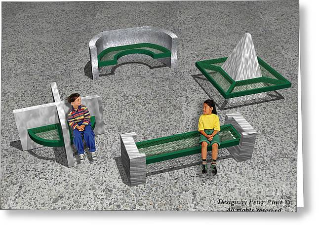 Rectangles Sculptures Greeting Cards - Geo Benches Greeting Card by Peter Piatt