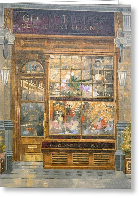Perfumer Greeting Cards - Geo F. Tumper, Jermyn Street, London Oil On Canvas Greeting Card by Peter Miller