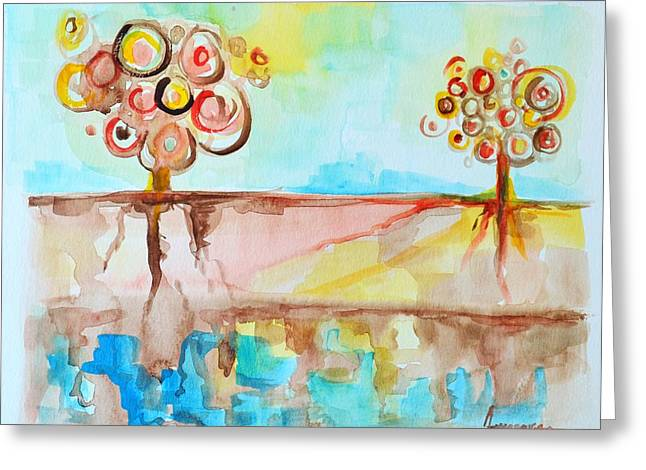 Abstract Digital Drawings Greeting Cards - Geo Trees Greeting Card by Patricia Awapara