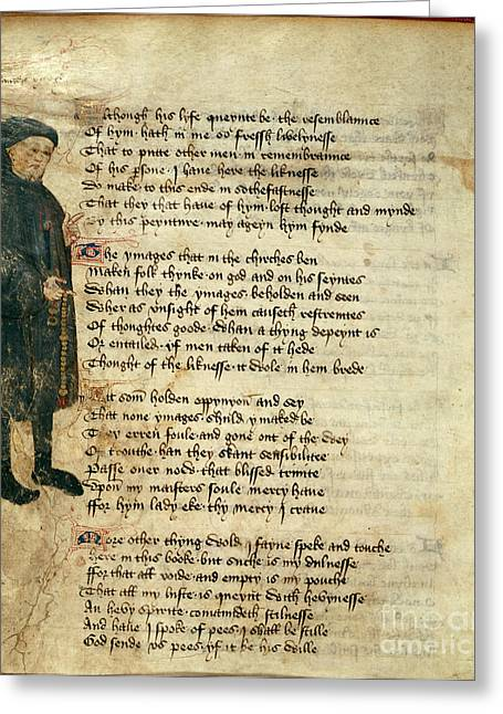 Rosary Greeting Cards - Geoffrey Chaucer Greeting Card by British Library