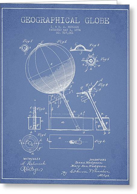 Continent Greeting Cards - Geographical Globe Patent Drawing From 1894 - Light Blue Greeting Card by Aged Pixel