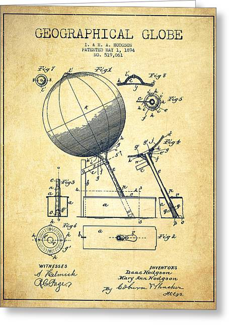 Continent Greeting Cards - Geographical Globe Patent Drawing From 1894 - Vintage Greeting Card by Aged Pixel
