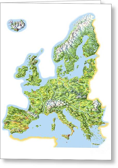 Cut-outs Greeting Cards - Geography Of Europe, Artwork Greeting Card by Gary Hincks