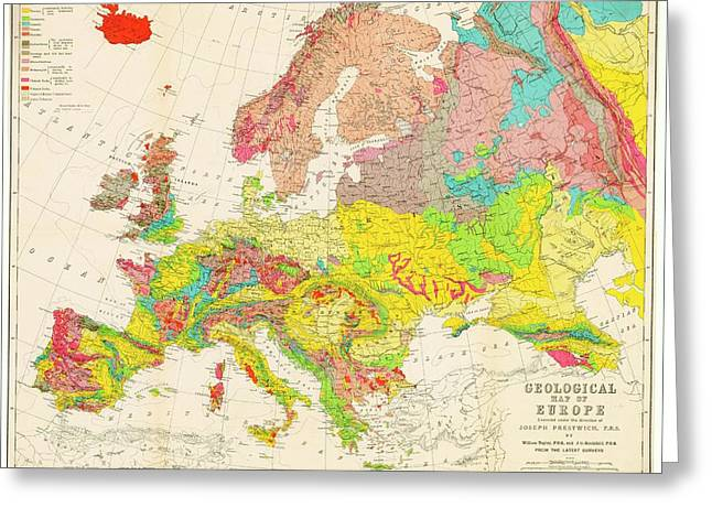 Geological Map Of Europe Greeting Card by American Philosophical Society