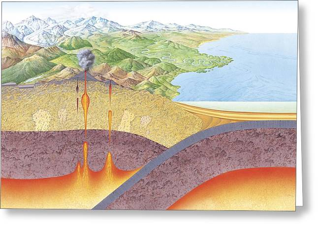 Metamorphism Greeting Cards - Geological rock cycle, artwork Greeting Card by Science Photo Library