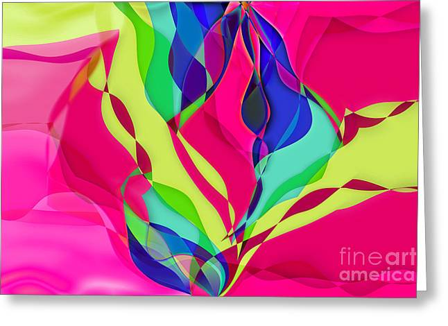 Pink Waves Greeting Cards - Geomox - 0701c03 Greeting Card by Variance Collections