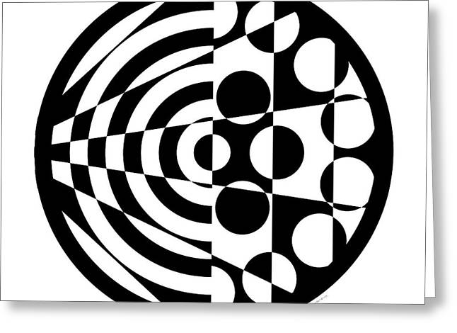 White Background Digital Art Greeting Cards - Geomentric Circle 1 Greeting Card by Amy Kirkpatrick