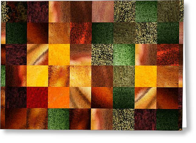 Art Quilt Greeting Cards - Geometric Abstract Design Evening Lights Greeting Card by Irina Sztukowski