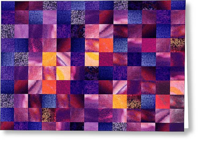 Art Quilt Greeting Cards - Geometric Abstract Design Purple Meadow Greeting Card by Irina Sztukowski
