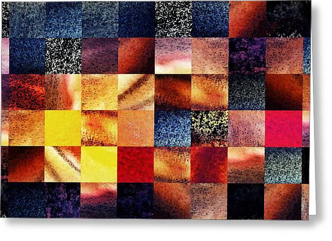 Art Quilt Greeting Cards - Geometric Abstract Design Sunrise Squares Greeting Card by Irina Sztukowski