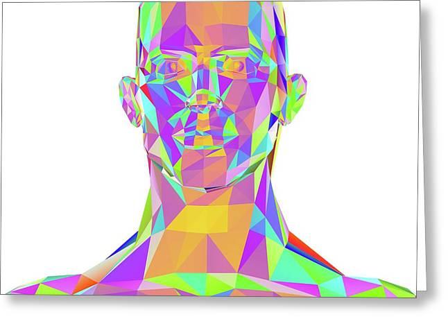 Geometric Abstract Polygonal Male Head Greeting Card by Pasieka