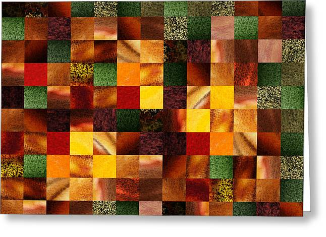 Art Quilt Greeting Cards - Geometric Abstract Quilted Meadow Greeting Card by Irina Sztukowski