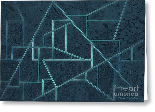 Asymmetrical Greeting Cards - Geometric Abstraction In Blue Greeting Card by David Gordon