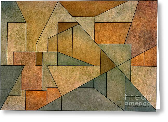 Geometric Abstraction Mixed Media Greeting Cards - Geometric Abstraction IV Greeting Card by David Gordon