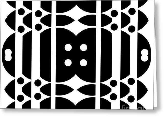 Geometric Artwork Greeting Cards - Geometric Art Abstract Black White Pattern No.323. Greeting Card by Drinka Mercep