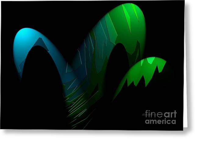 Geometric Art Designs In Blue And Green Greeting Card by Mario Perez
