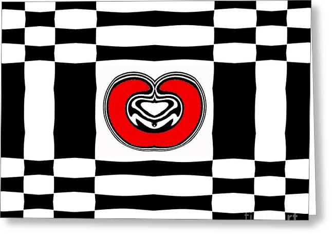 Geometric Artwork Greeting Cards - Geometric Black White Red Abstract Art No.142. Greeting Card by Drinka Mercep