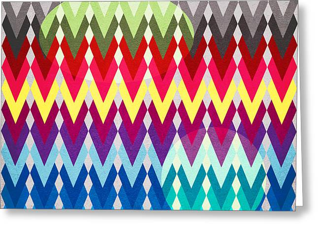 geometric colors  Greeting Card by Mark Ashkenazi