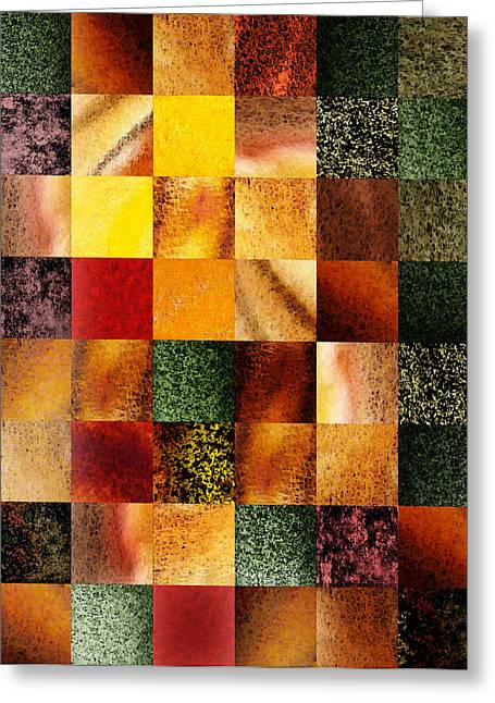 Art Quilt Greeting Cards - Geometric Design Squares Pattern Abstract I  Greeting Card by Irina Sztukowski