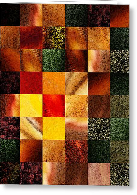 The Houses Greeting Cards - Geometric Design Squares Pattern Abstract II Greeting Card by Irina Sztukowski