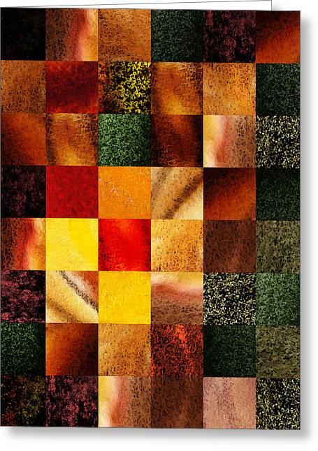 Geometric Design Squares Pattern Abstract II Greeting Card by Irina Sztukowski