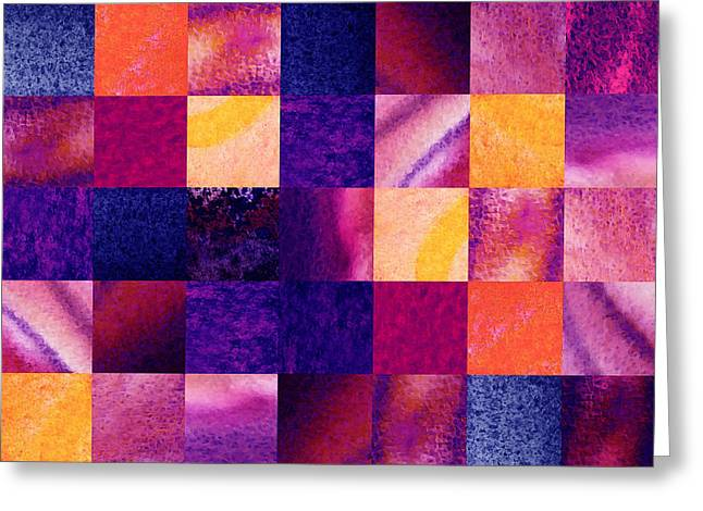 Art Quilt Greeting Cards - Geometric Design Squares Pattern Abstract IV Greeting Card by Irina Sztukowski